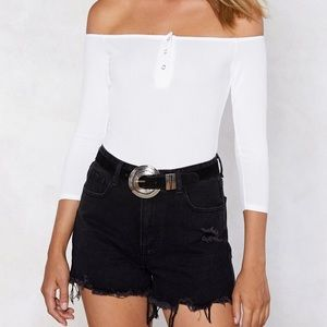 White off-shoulder button bodysuit